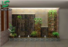 TƯỜNG THÁC NƯỚC 434 Vertical Garden Design, Backyard Garden Design, Ponds Backyard, Indoor Waterfall Wall, Wall Cladding Designs, Water Wall Fountain, Small Water Gardens, Outdoor Wall Fountains, Inside Garden