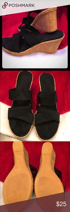 Black wedges Black wedges size 8/8 1/2 Only wore a handful of times. Very comfortable. Shoes Wedges