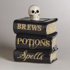 Spellbook Treat Jar at Cost Plus World Market - Store brews, potions, and spells for easy access in our exclusive Spellbook Treat Jar at a fantastic value! >> #WorldMarket Halloween #HalloweenDecor #HalloweenTreats