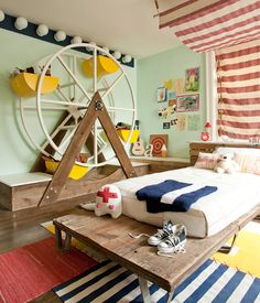 I think this room is so clever.  I think the baby bee is a little too young but in a couple of years his daddy-o and I could probably pull off something like this.  Found on babble through prudent baby.
