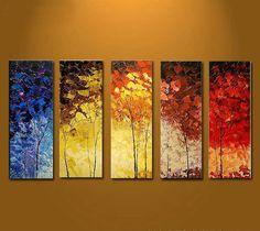 Pintado a mano de pintura al oleo arbol Botanico Con marco de estirado