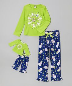 Take a look at this Lime Snowman Pajama Set & Doll Outfit   - Girls by Dollie & Me on #zulily today!
