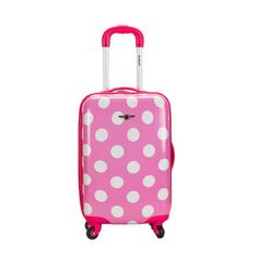 Rockland Carry On Luggage 20 In Hardcase Expandable Spinner Pink Polka Dot TSA Carry On Suitcase, Carry On Luggage, Luggage Sets, Carry On Bag, Travel Luggage, Pink Polka Dots, Pink Dot, Rockland Luggage, Best Luggage