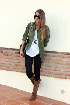 love this look, but combat boots instead #militaryjacket #leggings #tee
