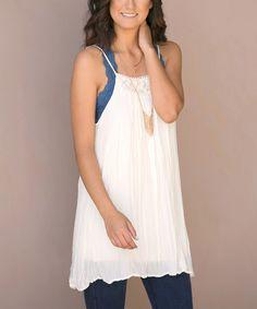 Look at this #zulilyfind! White Carmina Tunic #zulilyfinds...also in mint
