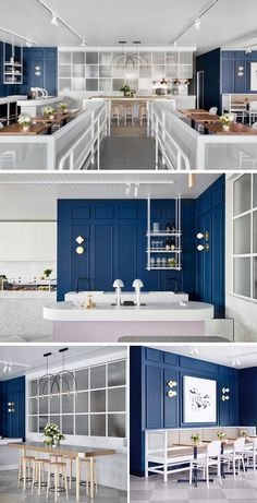 This contemporary coffee shop features royal blue walls with white and light pink accents. Restaurant Interior Design, Shop Interior Design, Cafe Design, Architecture Restaurant, Interior Architecture, Commercial Design, Commercial Interiors, Bar Bistro, Royal Blue Walls