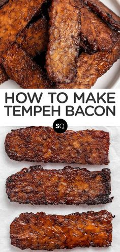 Learn how to make Tempeh Bacon with a smoky and savory marinade of maple syrup, soy sauce (you can keep the tempeh gluten-free by using GF soy sauce), and liquid smoke to top your favorite plant-based salads, sandwiches and soups. Vegan and high in protein. Simply Quinoa healthy Vegan Recipes. Bacon Recipes, Vegan Recipes, How To Make Tempeh, Plant Based Meal Planning, Tempeh Bacon, Vegan Meal Plans, Plant Based Recipes, Vegan Vegetarian, Liquid Smoke