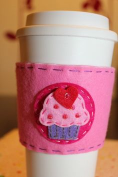 Pink Cupcake Love Coffee Cozy by MikaLuvzArt on Etsy