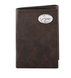 NCAA Kansas State Wildcats Zep-Pro Wrinkle Leather Trifold Concho Wallet, Brown by Zep-Pro. $32.95. Carry your Kansas State Wildcats school and team spirit with you at all times. This genuine smooth wrinkle leather trifold wallet is decorated with a silver gun metal concho and features two money compartments, ID window, six card slots, photo sleeve insert and spare key holder.  Attractively boxed to make the perfect gift for the ultimate Razorback fan.