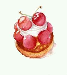 SALE Cherries and Whipped Cream Pastry Original Watercolor Painting - Sweet Kitchen Art like strawberry shortcake Watercolor Cake, Watercolor Paintings, Watercolors, Illustration Dessert, Pinterest Instagram, Food Painting, Pastry Art, Food Icons, Food Drawing