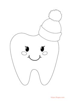 Kawaii Tooth Coloring Page For Kids Christmas Unicorn, Unicorn Halloween, Halloween Books, Coloring Apps, Coloring Pages For Kids, Adult Coloring, Tooth Cartoon, Instagram Logo, Lol Dolls