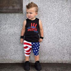 Toddler Boys Girls My 1st Fourth Letters Print Romper+USA Flag Star Shorts Pants+Cap 3Pcs Set