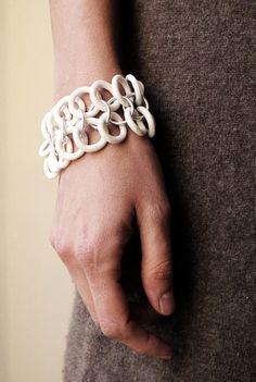 Olivia Monti Bracelet: Lace Porcelain, silver rings