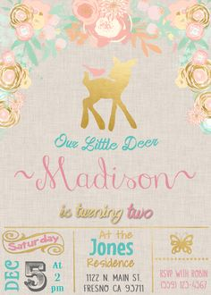 Our Little Deer Woodland Birthday Party Invitation Invite. Pink Peach Gold Mint. Rustic Vintage Shabby Chic Water Color Flowers.