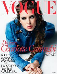 Vogue Paris April 2015 : Charlotte Casiraghi by Mario Testino - the Fashion Spot Vogue Covers, Vogue Magazine Covers, Fashion Magazine Cover, Fashion Cover, Mario Testino, Charlotte Casiraghi, Vogue Paris, The Blonde Salad, Jean Paul Gaultier