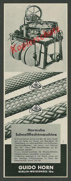 Guido Horn Berlin Weissensee Seilerei Handwerk Schnellflechtmaschine Technik ´37 in Antiquitäten & Kunst, Antiquarische Bücher | eBay