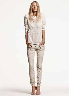 AGOURA TWILLS, AWESOME BLOUSE, SKINNY BELT WITH SILVER PLATES, BAHAMA SLIM CUFF.