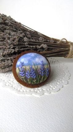 Needle felted brooch,Needle felted brooch with embroidery,Lavender Wool felt brooch, Flower brooch,Gift ideas,For her,felted landscapes