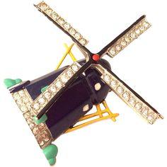 TRIFARI crown enamel and rhinestones 1941 movable windmill pin fur clip RARE!