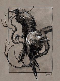 Huginn & Muninn from the Poetic Edda (Norse Mythology) by Daniel Govar Artist W . - Huginn & Muninn from the Poetic Edda (Norse Mythology) by Daniel Govar Artist Website: danielgovar. Norse Mythology Tattoo, Norse Tattoo, Tattoo Symbols, Valkyrie Norse Mythology, Art Viking, Viking Warrior, Viking Woman, Hugin Munin Tattoo, Rabe Tattoo