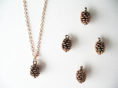 Rose gold pine cone necklace. Rose pinecone Pink by 53Countesses