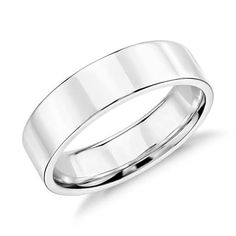 Flat Wedding Ring in 14k White Gold (5mm)