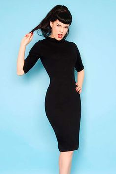 Heart of Haute Super Spy Dress in Black Stretch Jersey | Pinup Girl Clothing  Kind of like the black wiggle I have from UV. Might need it anyway.