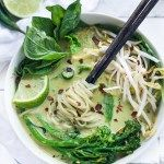 Bone-warming, Thai Green Curry Noodle Soup - with broccolini and and your choice of tofu or chicken. | www.feastingathome.com