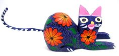 """ALEBRIJE HAND CARVED FROM COPAL WOOD KITTY CAT HAND CARVED AND HAND PAINTED MEASURES 8.5"""" X 2"""" X 4""""TALL MADE IN MEXICO SOME PIECES COME OUT FOR A SAFER SHIPPING. (SIZE AND COLOR MAY VARY)"""