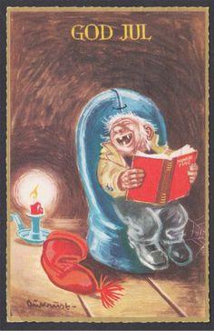 Kjell Aukrust Leprechaun, Goblin, Vintage Postcards, Gnomes, Norway, Scandinavian, Decoupage, Auction, Scrapbook