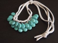 turquoise and pale grey/stone necklace. $40.00, via Etsy.