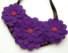 Felt flower necklace purple and pink by lupin on Etsy