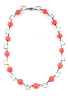 Czech glass coral necklace