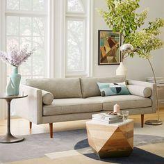 Monroe Mid-Century Sofa, Shadow Weave, Oatmeal
