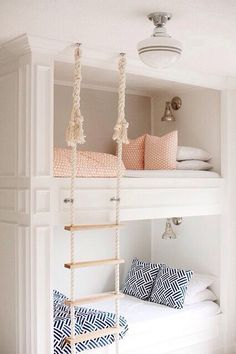 76 Cute Kids Bedroom Furniture Bunk Beds Ideas - About-Ruth Built In Bunks, Built Ins, Bunk Rooms, Kids Bunk Beds, Bunk Beds For Girls Room, Storage Bunk Beds, Girl Bedroom Designs, Design Bedroom, Bunk Bed Designs