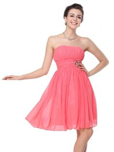 Amazon.com: Ever Pretty Padded Chiffon Padded Empire Line Strapless Ruffles Prom Dress 03601: Clothing