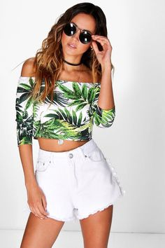 Lucy Tropical Print Off The Shoulder Top