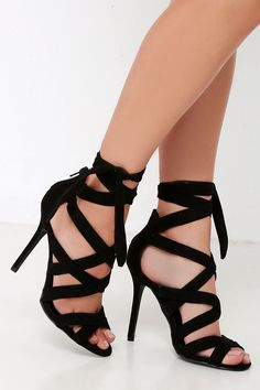 1ae10aa7e83 Everybody Can-Can Black Suede Caged Heels