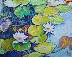 waterlilies 50x40 inches, acrylic on canvas by dragoslav milic-for sale: 3000 us dollars