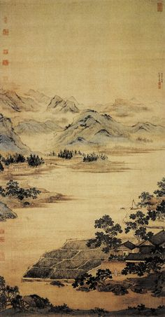 A fishing scholar's retreat, Chinese ink painting by Qiu Ying (仇英 1494-1552), Ming Dynaty