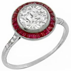 Art Deco Style1.48ct Old European Brilliant Diamond Ruby Platinum Engagement Ring - See more at: http://www.newyorkestatejewelry.com/engagement-rings/1.48ct-diamond-ruby-engagement-ring-/25246/3/item#sthash.7l1ng9bS.dpuf