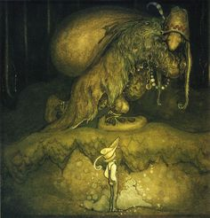Swedish artist John Bauer. Made a lot of awesome, pagan-y, creepy children's illustrations involving trolls, elves, and dark forests