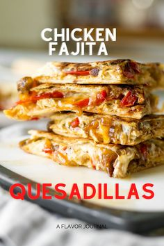 Awesome quesadillas packed with fajita veggies, cheese, and shredded chicken.  These are so good for an easy dinner for two people!  #chickenfajitas #quesadillas #chickenquesadillas #quesadillarecipe #easydinner #dinnerfortwo #chickenrecipe Walnut Chicken Recipe, Baked Chicken Recipes, Chicken Appetizers, Beef Recipes For Dinner, Mexican Food Recipes, Mexican Dishes, Easy Dinners For Two, Easy Meals, My Favorite Food