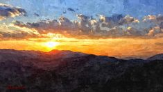 Tramonto+sui+Simbruini Digital, Painting, Art, Sky, Mountain, Art Background, Painting Art, Kunst, Paintings