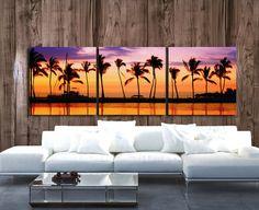 Paradise Beach Sunset art on Canvas  Beach Mural by HolyCowCanvas