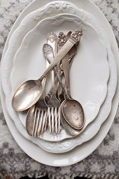 Ironstone and vintage silverware - doesn't get more perfect than that!  via VIBEKE DESIGN: Fordi den fortjener det...