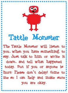 Here's the Tattle Monster poem that goes with the Tattle Monster box! Very cute.