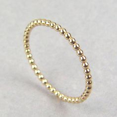 Stackable Beaded Ring, Gold Bead Stacking Ring, Yellow Gold Stacking Ring, Gold Beaded Ring, Gold Balls Ring, Christmas Gold stackable ring