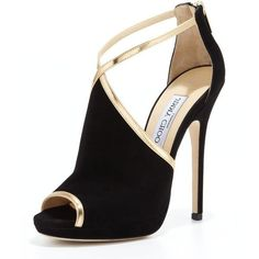 Jimmy Choo Fey Peep-Toe Suede Sandal ($389) ❤ liked on Polyvore featuring shoes, sandals, heels, sapatos, high heels, strappy heel sandals, black strap sandals, black heel sandals, metallic sandals and black high heel shoes