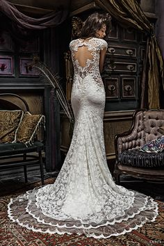 olvis 2017 couture bridal long sleeves scalloped v neckline full embellishment beautiful elegant lace sheath wedding dress keyhole back chapel train (2301) bv -- Olga Yermoloff 2017 Couture Wedding Dresses #weddingdress #weddingdresses #lace